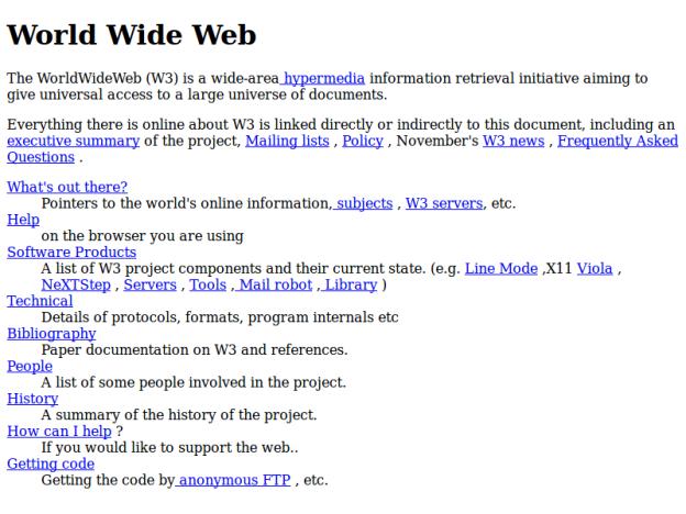 Schermata del primo sito web della storia (a 800x600px)