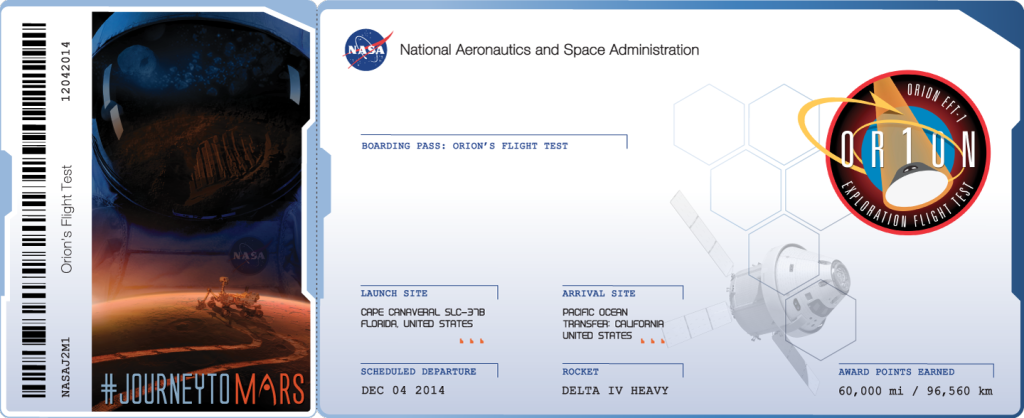 Orion Journey To Mars Boarding Pass